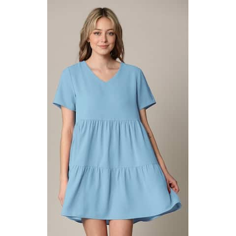 Made By Johnny Casual Flowy Swing Shift Short Sleeve Tiered Dress