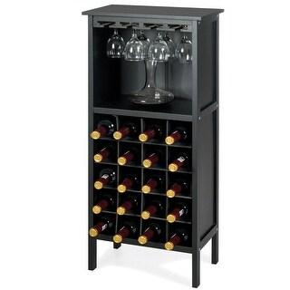 Gymax 20 Bottles Wood Storage Cabinet Wine Rack Display Home Bar w/ Glass Holder Black