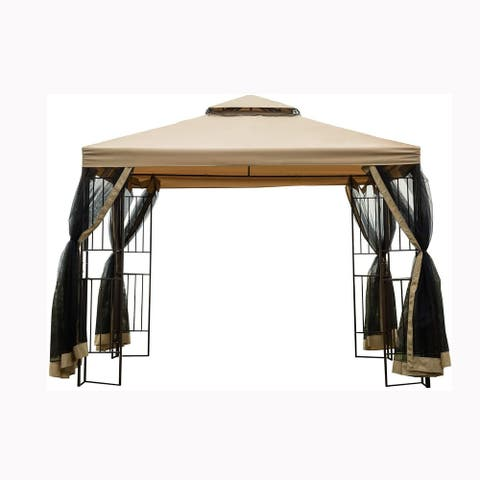 10x10Ft Outdoor Patio Gazebo Canopy Tent With Ventilated Double Roof And Mosquito Net