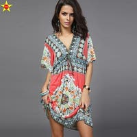 Deep V Floral Print Tunic Beach Dress