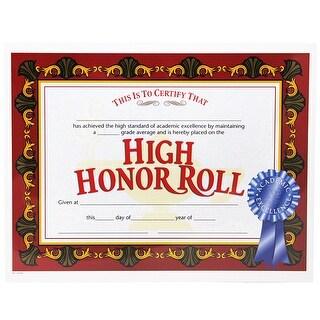(6 Pk) High Honor Roll Award Certificate 8.5X11 30 Per Pk
