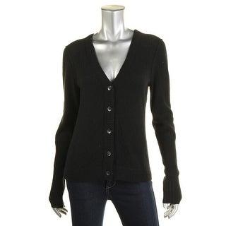 Aqua Womens Cashmere Ribbed Trim Cardigan Sweater