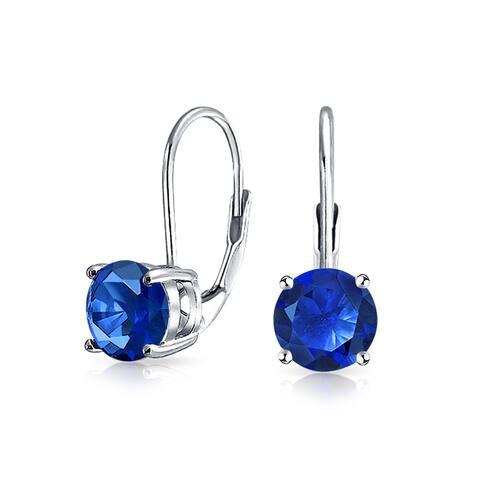 1CT Blue Solitaire Round Brilliant Cut Cubic Zirconia CZ Leverback Drop Earrings Imitation Sapphire 925 Sterling Silver