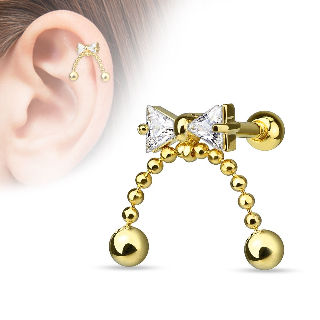 316L Surgical Steel Tragus//Cartilage Barbell with Sword Dangle Jewelry