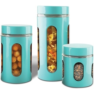 Link to Premius Airtight 3-Piece Kitchen Glass Canister Set Similar Items in Glasses & Barware