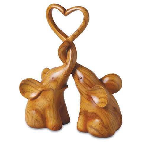 Two Piece Loving Elephants with Heart Sculpture - Exclusive - Brown - 7 in. x 12 in. x 9 in.