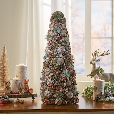 Walt Pre-Decorated Pine Cone and Glitter Artificial Tabletop Christmas Tree by Christopher Knight Home