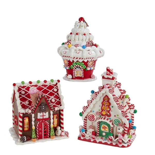 """Set of 3 Battery Operated Claydough LED Gingerbread House Tablepiece Decorations 8"""""""