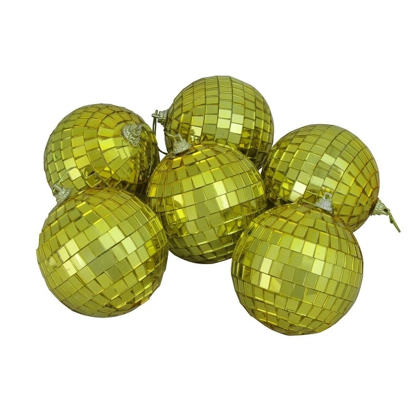 """6ct Gold Mirrored Glass Disco Ball Christmas Ornaments 3.25"""" 80mm"""