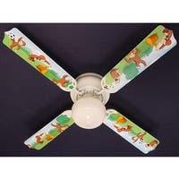 Classic Curious George Print Blades 42in Ceiling Fan Light Kit - Multi