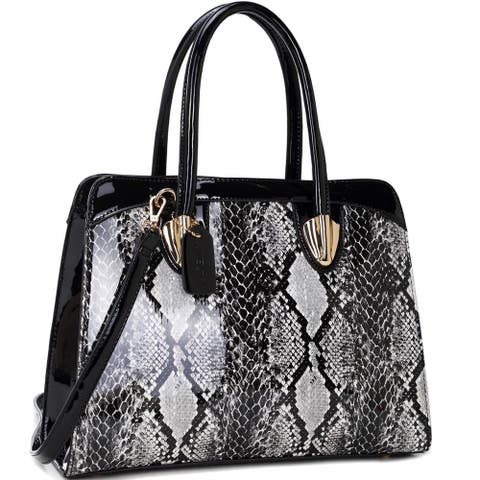 Dasein Faux Patent Leather Shoulder Bag with Snakeskin Detail