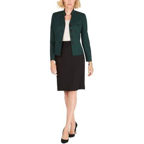 Le Suit Womens Stand Collar Four Button Blazer Jacket