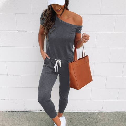 2019 Short Sleeve Strapless Casual Jumpsuit