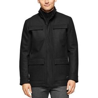 Calvin Klein CK Four Pocket Wool Blend Car Coat Black Medium M