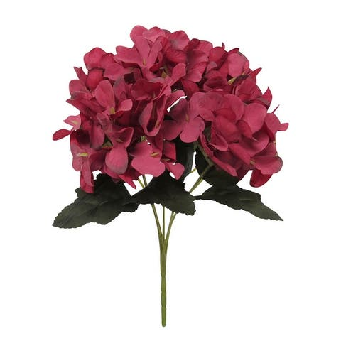 Set of 6 Petite Hydrangea Flower Stems Bush Bouquet 11.75in