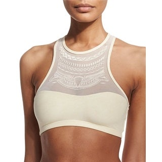 PilyQ Womens Swimsuit Halter Bikini Top Large L Ivory Pearl Keshi Luna Mesh