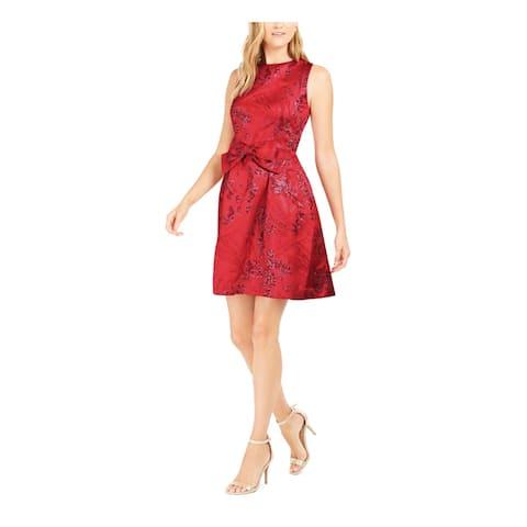 TAHARI Red Sleeveless Short Dress 8