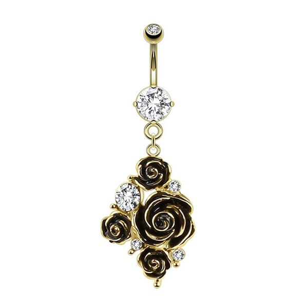 {Clear} Black Rose Arrangement and CZ Accents Dangle gold-plated Navel Belly Button Ring (Sold
