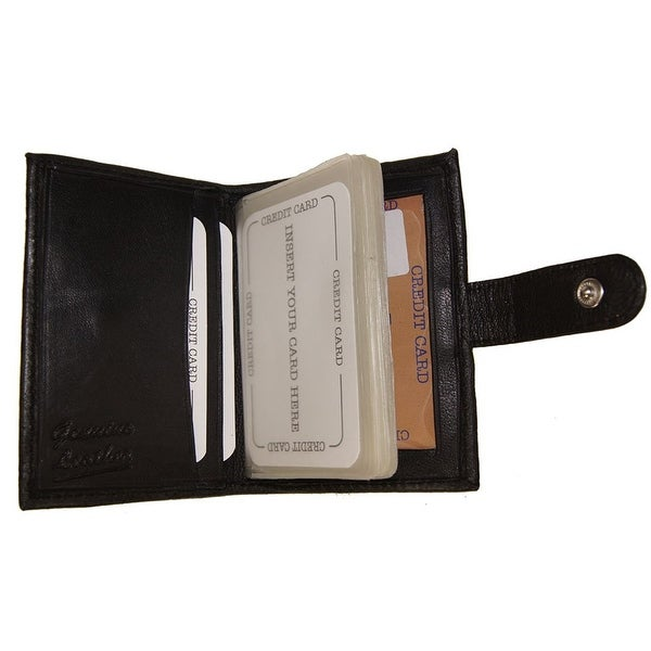 Improving Lifestyles Leather Credit Card Window ID Black SNAP closure FREE Organza Gift Bag SUN520BK