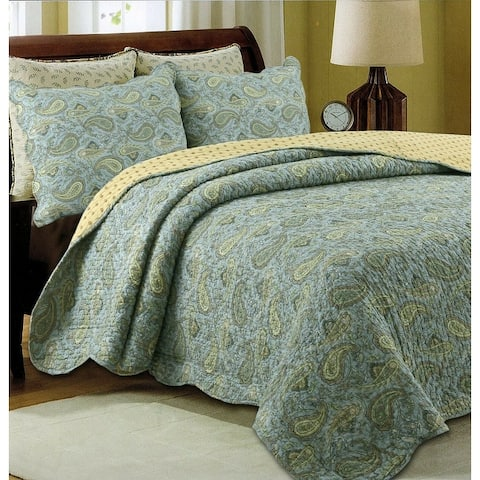 Green Paisley Country Style 3-piece Cotton Quilt Set