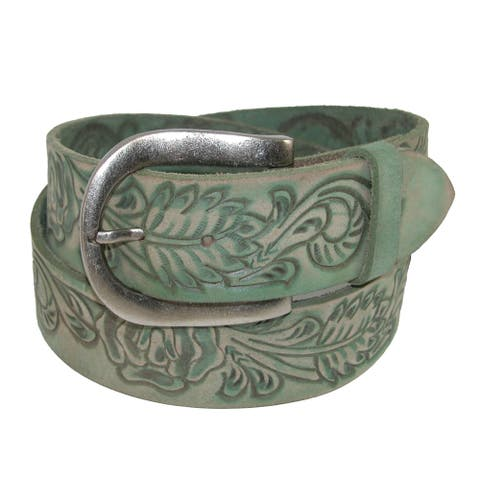 Roper Women's Handtooled Leather Belt with Removable Buckle