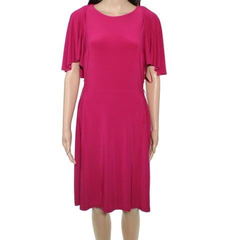 Lauren by Ralph Lauren Women's Dress Hot Pink Size 0 Sheath Tie Waist