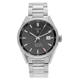 Tag Heuer Men's 'Carrera Series' WAR2012.BA0723 Stainless Steel Automatic Twin Time Link Watch