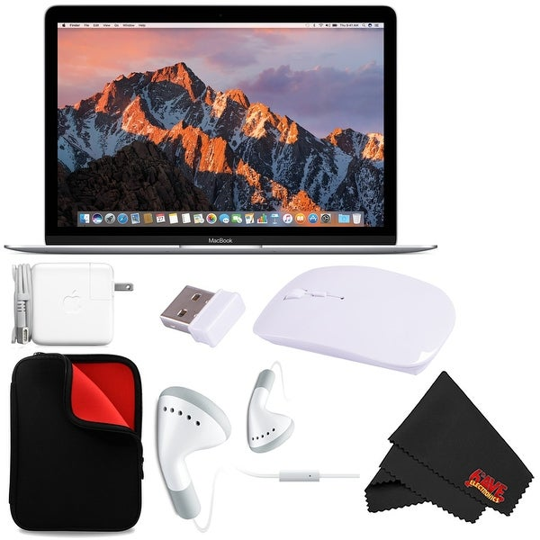 "Apple 12"" MacBook (Mid 2017 Silver) 256GB SSD (MNYH2LL/A) + MicroFiber Cloth + Padded Case For Macbook Bundle"