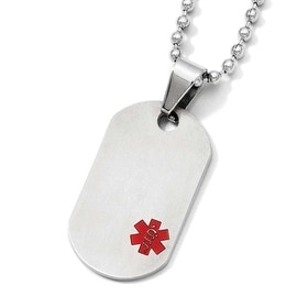 Chisel Titanium Medical Jewelry Dogtag Pendant on Stainless Steel 20in Necklace (2 mm) - 20 in