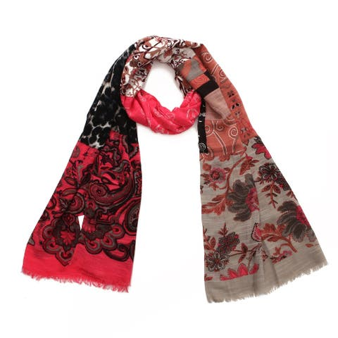 """Richie House Women's Multistyled Scarf - Red - size: 78.5"""" length * 25.6"""" width"""