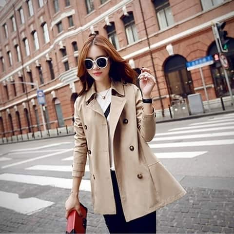 Women Fashion Double Breasted Trench Coat