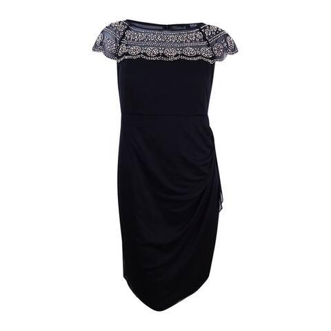 MSK Women's Plus Size Beaded Illusion Dress - Black