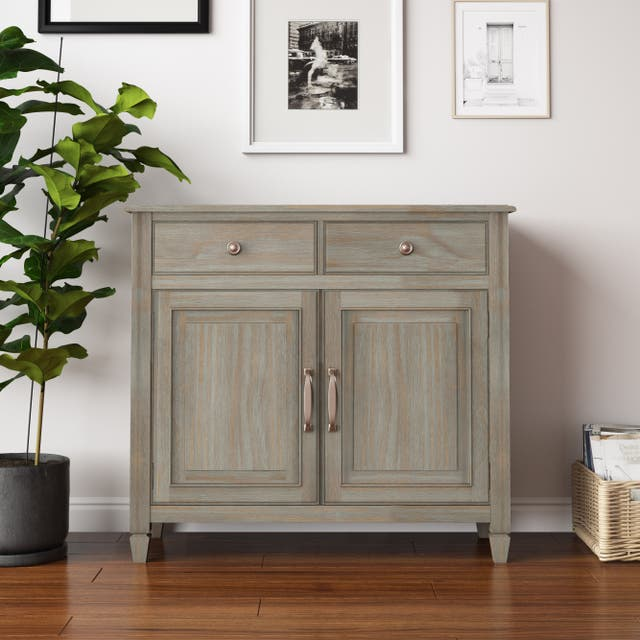"""WYNDENHALL Hampshire SOLID WOOD 40 inch Wide Traditional Entryway Storage Cabinet - 40""""w x 15""""d x 36"""" h - Distressed Grey"""