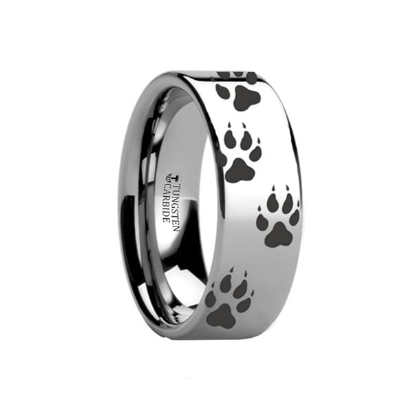 THORSTEN - Animal Track Wolf Print Ring Engraved Flat Tungsten Polished- 12mm