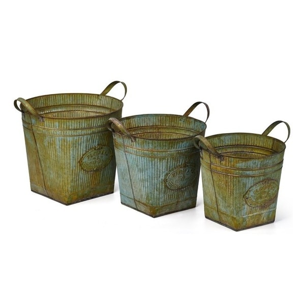 """Set of 3 Rusted Werner Galvanized Planters 14.5"""" - N/A"""
