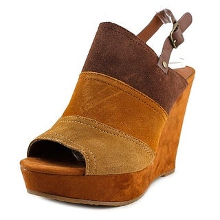 Lucky Brand Frescala Women Open Toe Suede Brown Wedge Heel