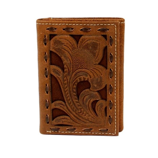 Nocona Western Wallet Mens Trifold Buck Lace Edges Chocolate - One size