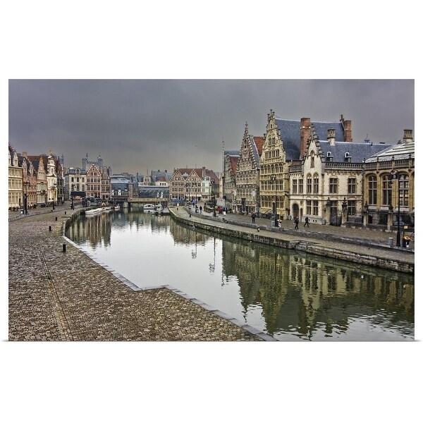 """The streets of Graslei and Korenlei of Ghent, Belguim"" Poster Print"