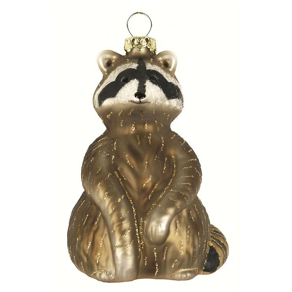 "3.38"" Bronze and Gold Raccoon Hand Blown Glass Hanging Figurine Ornament - N/A"