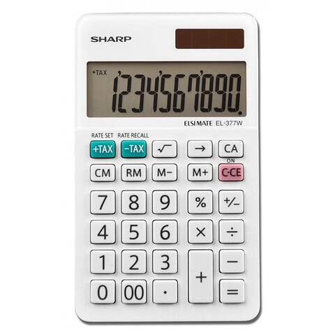 Sharp EL-377WB Professional Pocket Calculator with 10-Digit LCD Display, Large