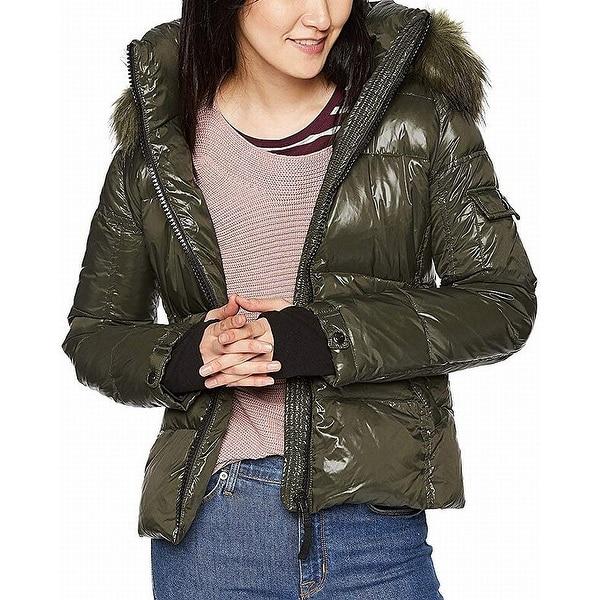 S13 York Womens Coat Green Size Medium M Faux Fur Hooded Puffer. Opens flyout.