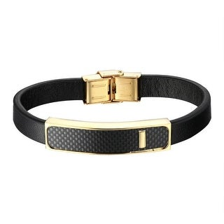 Classy Carbon Fiber Design Bracelet Gold Tone Stainless Steel Black Leather Wristband