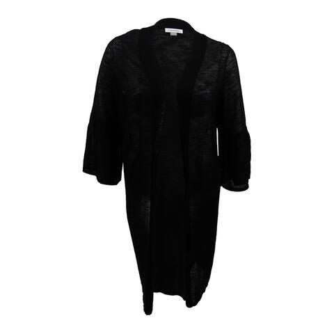 Calvin Klein Women's Plus Size Long Bell-Sleeve Cardigan - Black
