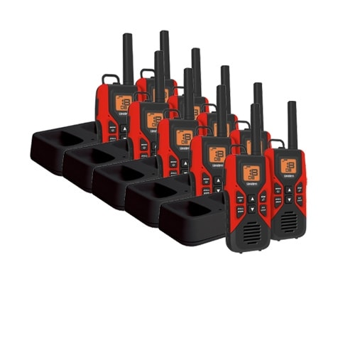 Uniden GMR3055-2CK (10-Pack) Red Radio with MicroUSB Charging Cradle