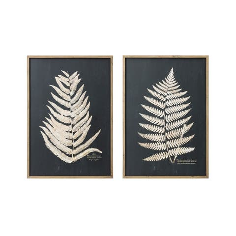 """Wood Framed Wall Decor with Fern Leaf (Set of 2 Styles) - 27.5"""" x 39.25"""""""