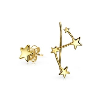 Bling Jewelry Gold Plated Silver Constellation Ear Pin and Stud Earring