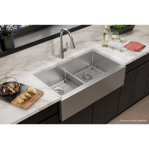 "Elkay Crosstown 16 Gauge Stainless Steel 35-7/8"" x 20-1/4"" x 9"" Equal Double Bowl Tall Farmhouse Sink with Aqua Divide"