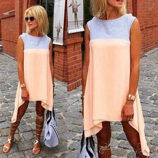 Casual Loose Women's Irregular Color Blocking Dress