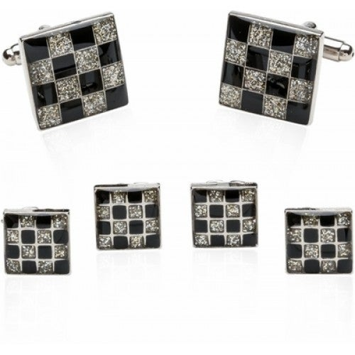 Checkered Style Cuffs And Studs