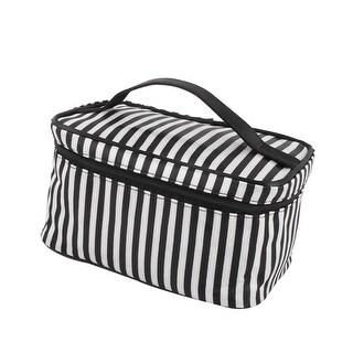 Outdoor Polyester Stripes Pattern Toiletry Makeup Portable Bag White Black